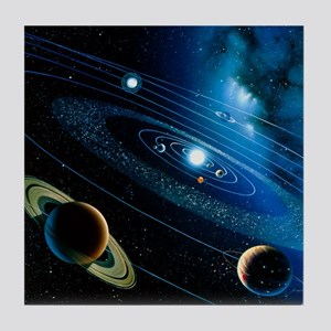 Artwork of the solar system - Tile Coaster